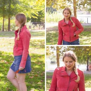 Anthro Sweet Sinnamon Red Leather Suede Moto